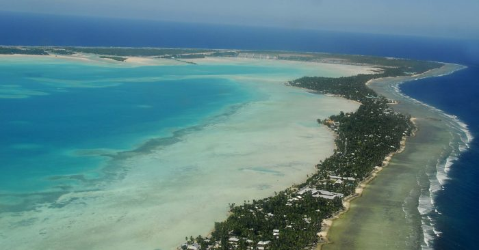 South Tarawa is a narrow strip of land between the lagoon and the ocean | CC 3.0 by: Government of Kiribati